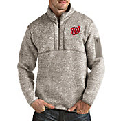Antigua Men's Washington Nationals Oatmeal Fortune Half-Zip Pullover