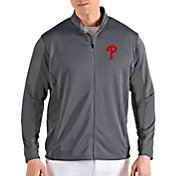 Antigua Men's Philadelphia Phillies Grey Passage Full-Zip Jacket