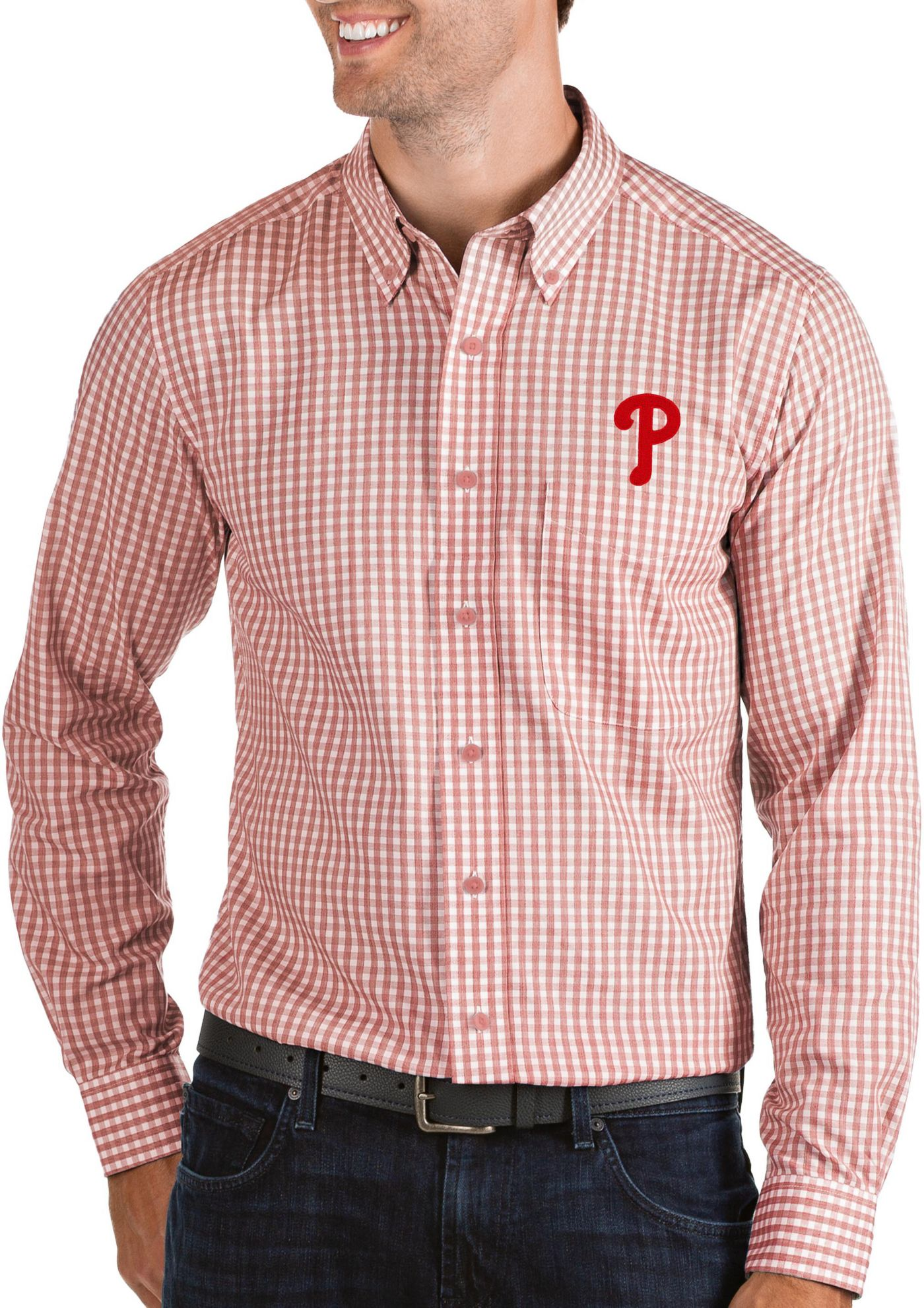 Antigua Men's Philadelphia Phillies Structure Button-Up Red Long Sleeve Shirt