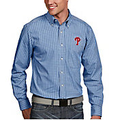 Antigua Men's Philadelphia Phillies Associate Button-Up Royal Long Sleeve Shirt