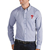 Antigua Men's Philadelphia Phillies Structure Button-Up Royal Long Sleeve Shirt