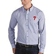 Antigua Men's Philadelphia Phillies Structure Royal Long Sleeve Button Down Shirt