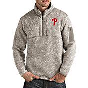 Antigua Men's Philadelphia Phillies Oatmeal Fortune Half-Zip Pullover