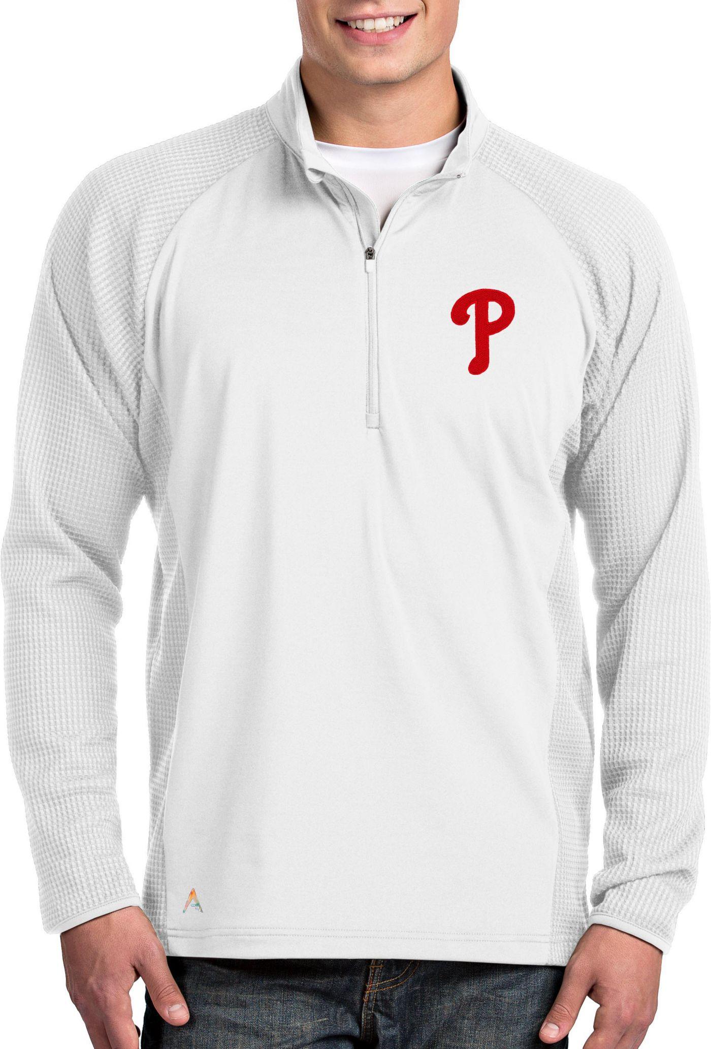 Antigua Men's Philadelphia Phillies White Sonar Performance Quarter-Zip Pullover