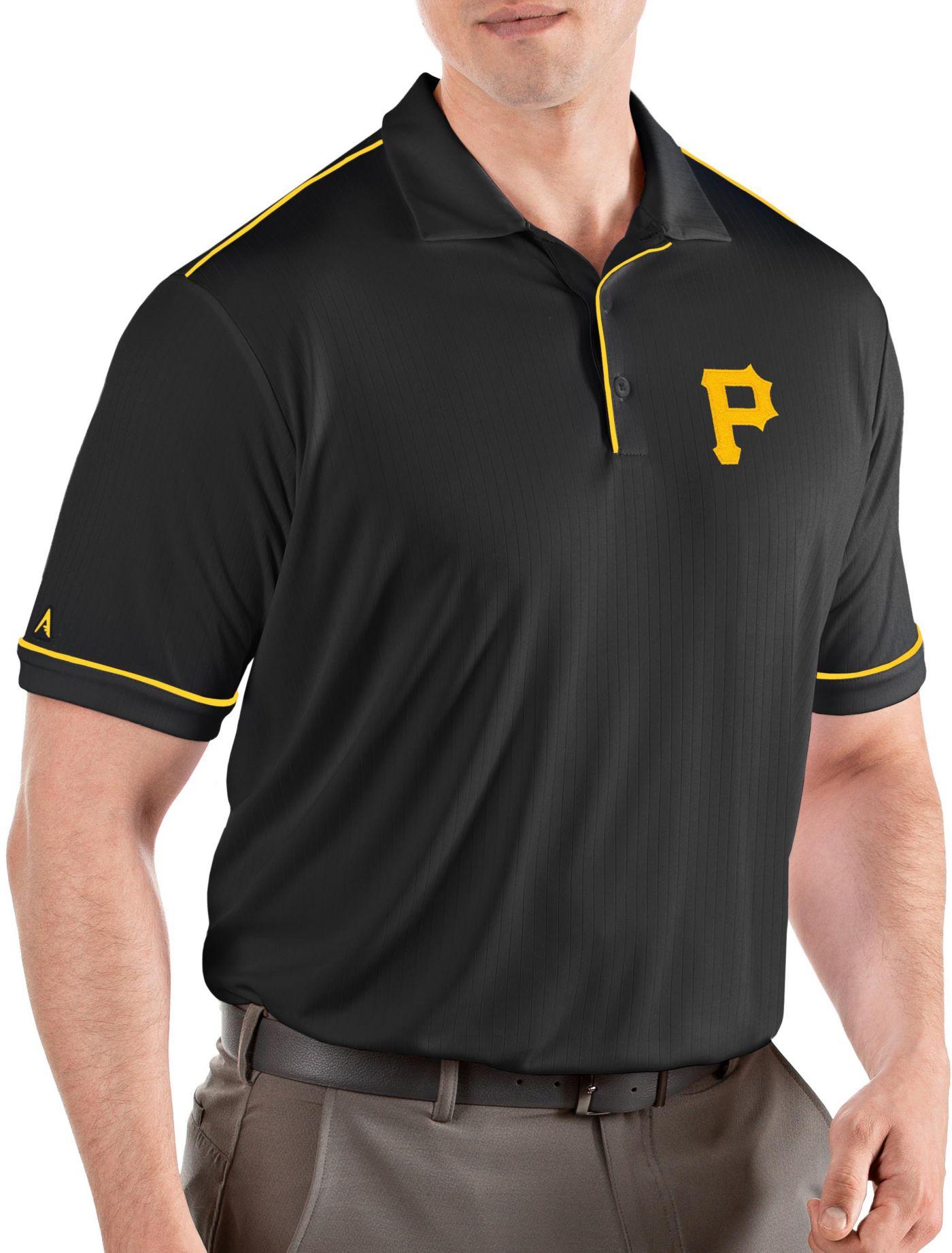 Antigua Men's Pittsburgh Pirates Salute Black Performance Polo