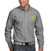 Antigua Men's Pittsburgh Pirates Associate Button-Up Black Long Sleeve Shirt