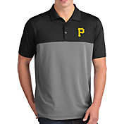 Antigua Men's Pittsburgh Pirates Venture Black Performance Polo