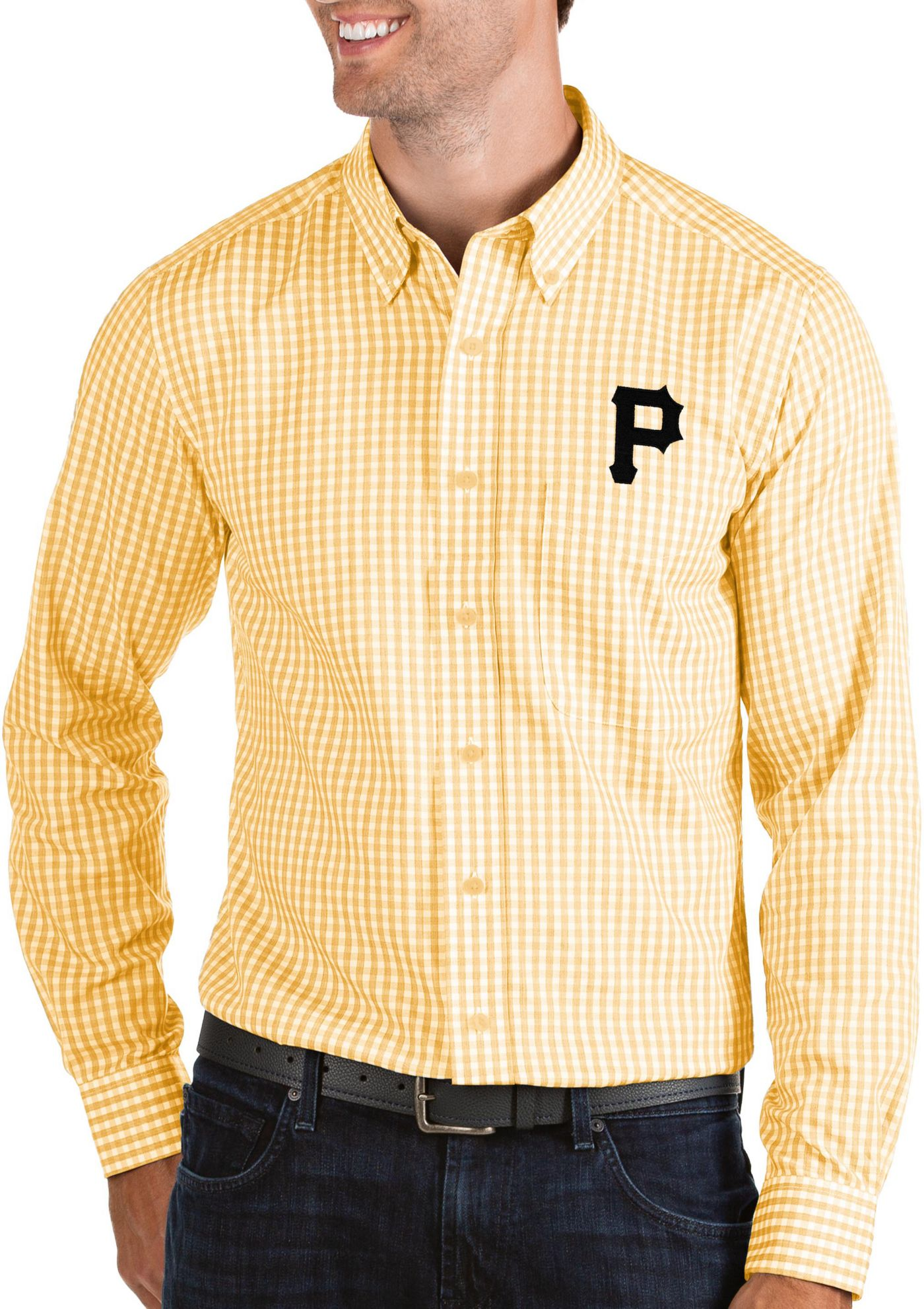 Antigua Men's Pittsburgh Pirates Structure Button-Up Gold Long Sleeve Shirt