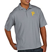 Antigua Men's Pittsburgh Pirates Pique Grey Performance Polo