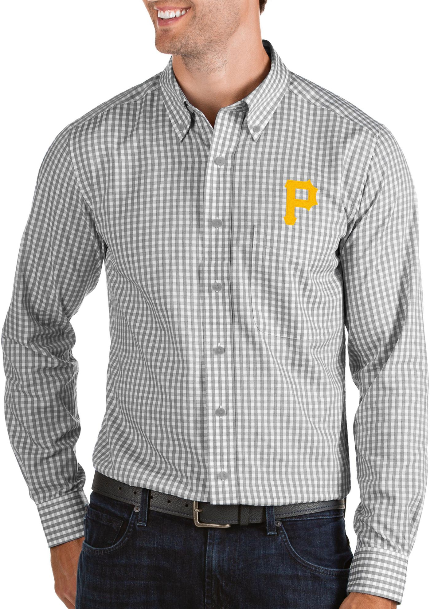 Antigua Men's Pittsburgh Pirates Structure Button-Up Grey Long Sleeve Shirt