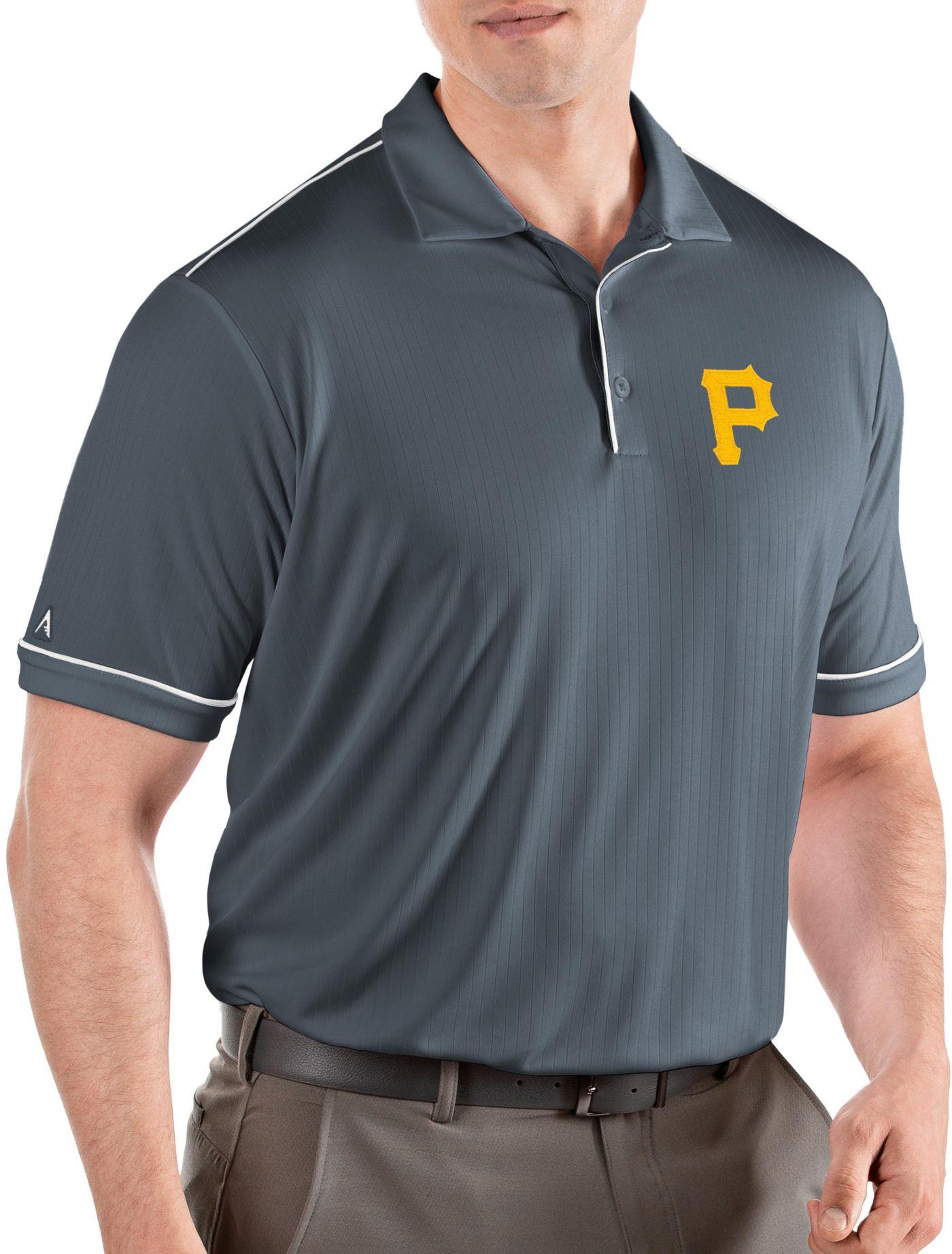 Antigua Men's Pittsburgh Pirates Salute Grey Performance Polo