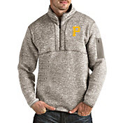 Antigua Men's Pittsburgh Pirates Oatmeal Fortune Half-Zip Pullover