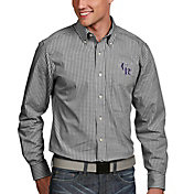 Antigua Men's Colorado Rockies Associate Button-Up Black Long Sleeve Shirt