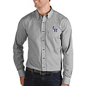 Antigua Men's Colorado Rockies Structure Button-Up Black Long Sleeve Shirt