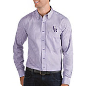 Antigua Men's Colorado Rockies Structure Button-Up Purple Long Sleeve Shirt