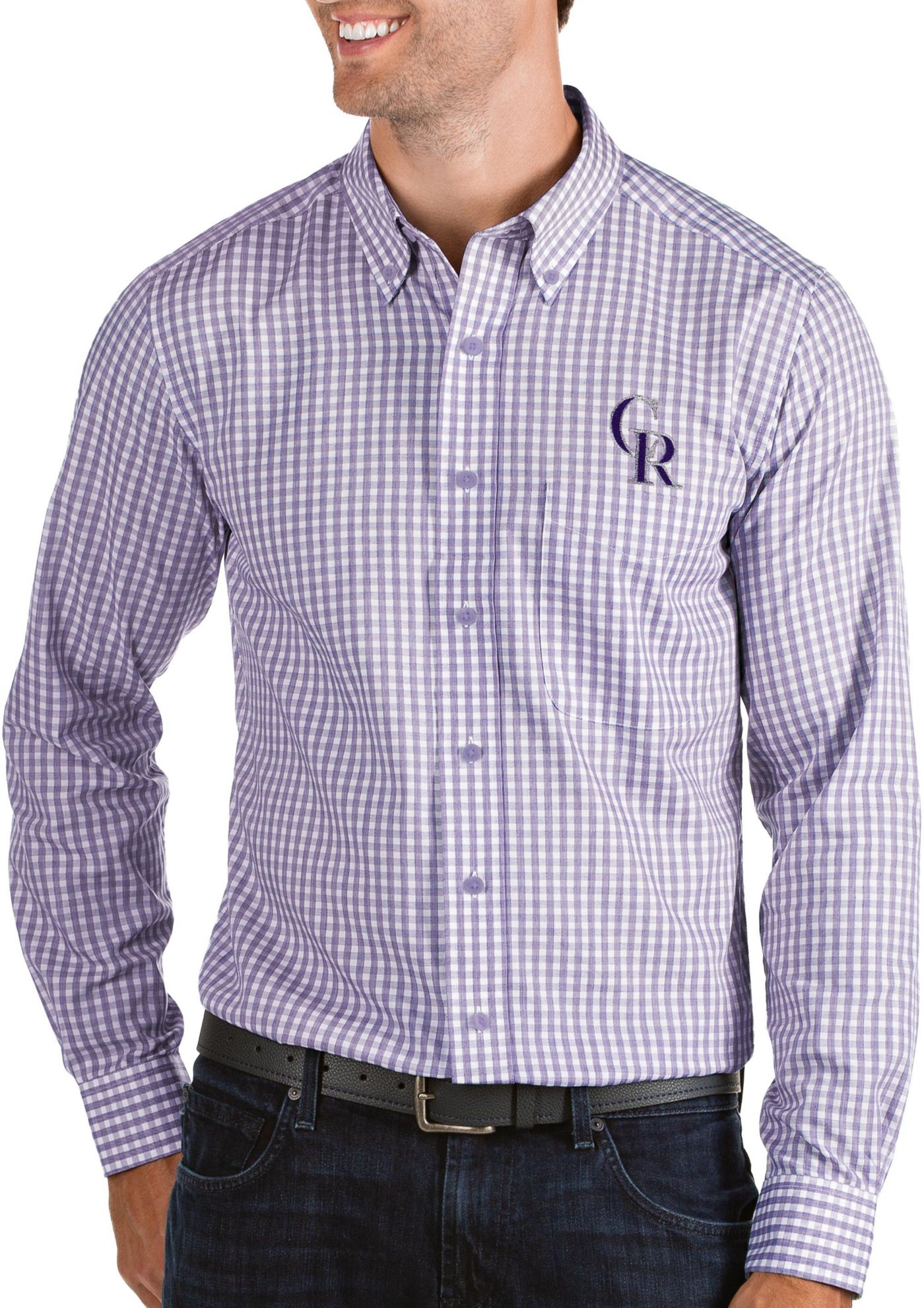 Antigua Men's Colorado Rockies Structure Button-Up Purple Long Sleeve Shirt