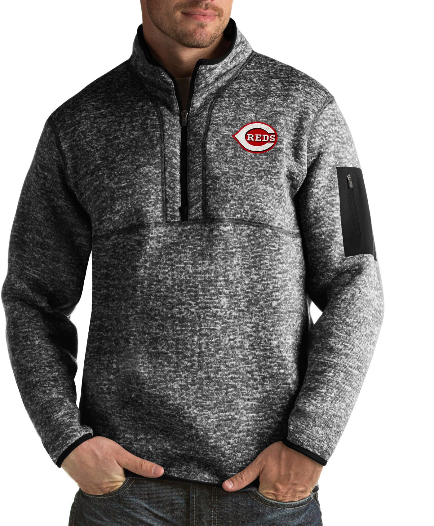 Antigua Men's Cincinnati Reds Fortune Black Half-Zip Pullover