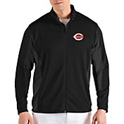 Antigua Men's Cincinnati Reds Black Passage Full-Zip Jacket