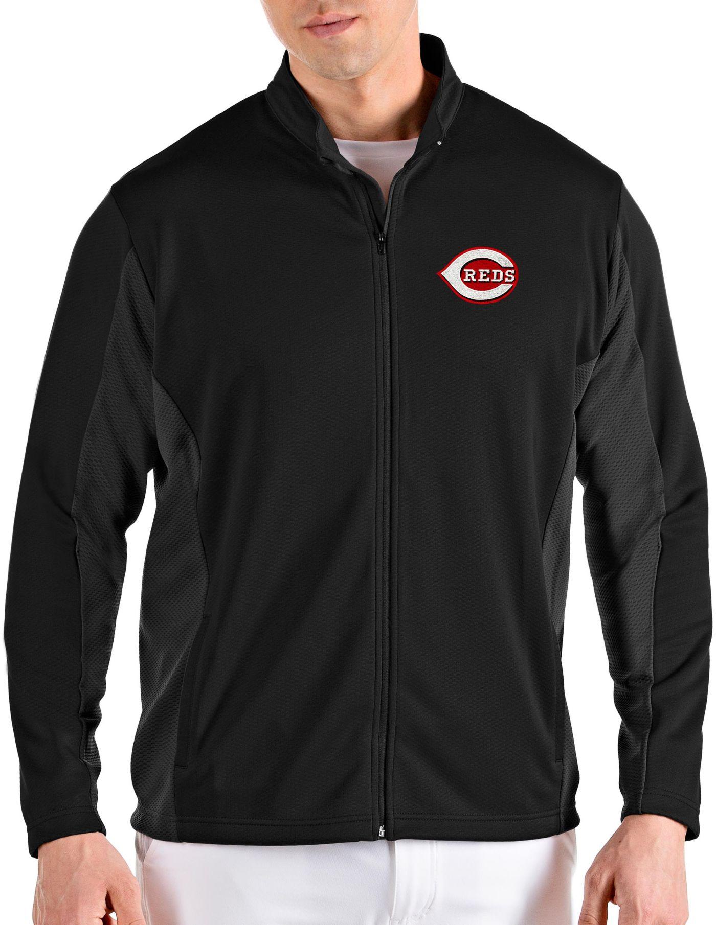 Antigua Men's Cincinnati Reds Black Passage Full-Zip Jacket