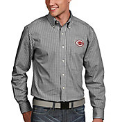 Antigua Men's Cincinnati Reds Associate Button-Up Black Long Sleeve Shirt