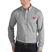 Antigua Men's Cincinnati Reds Structure Button-Up Black Long Sleeve Shirt