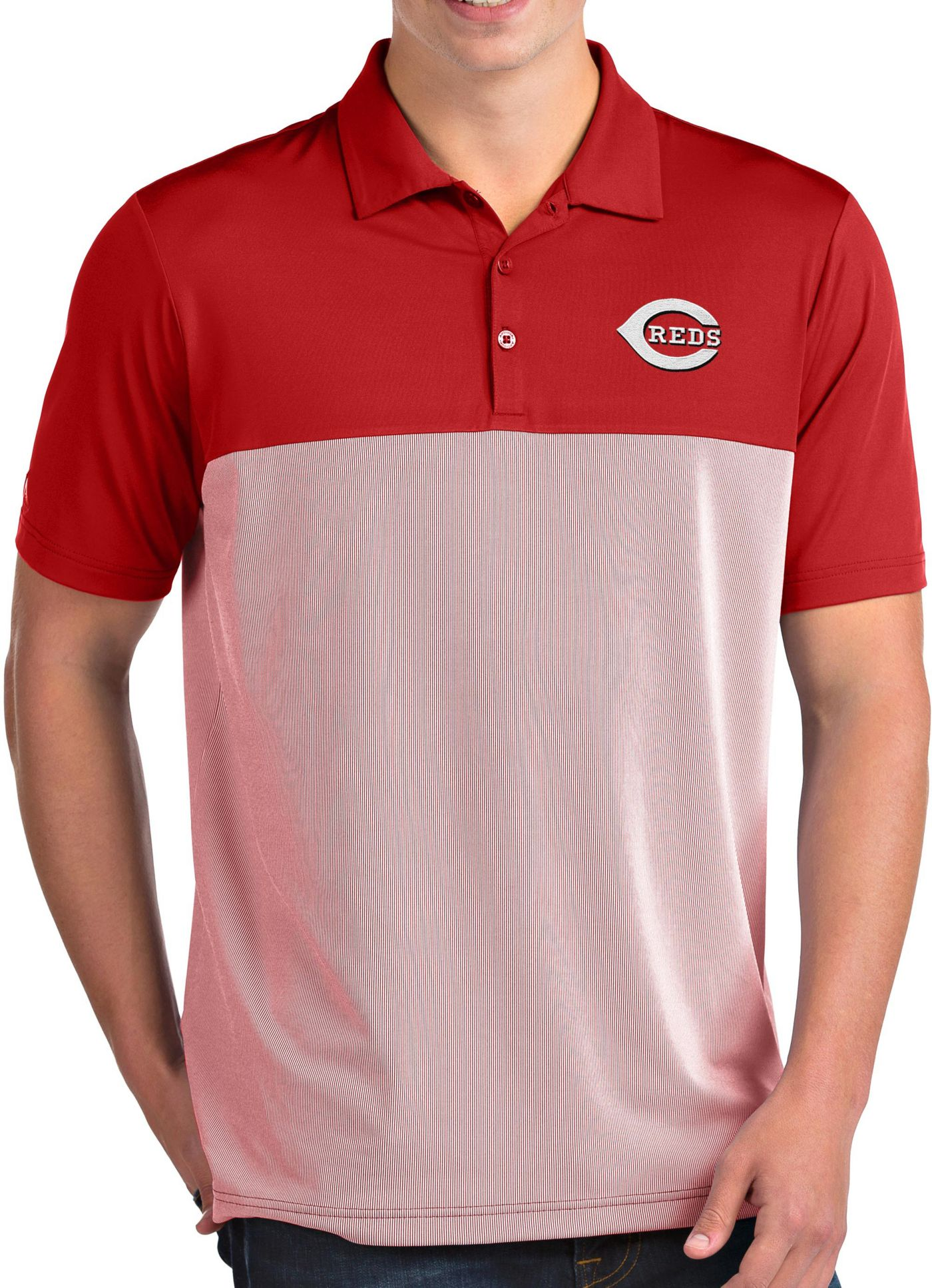 Antigua Men's Cincinnati Reds Venture Red Performance Polo