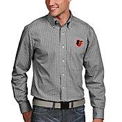 Antigua Men's Baltimore Orioles Associate Button-Up Black Long Sleeve Shirt