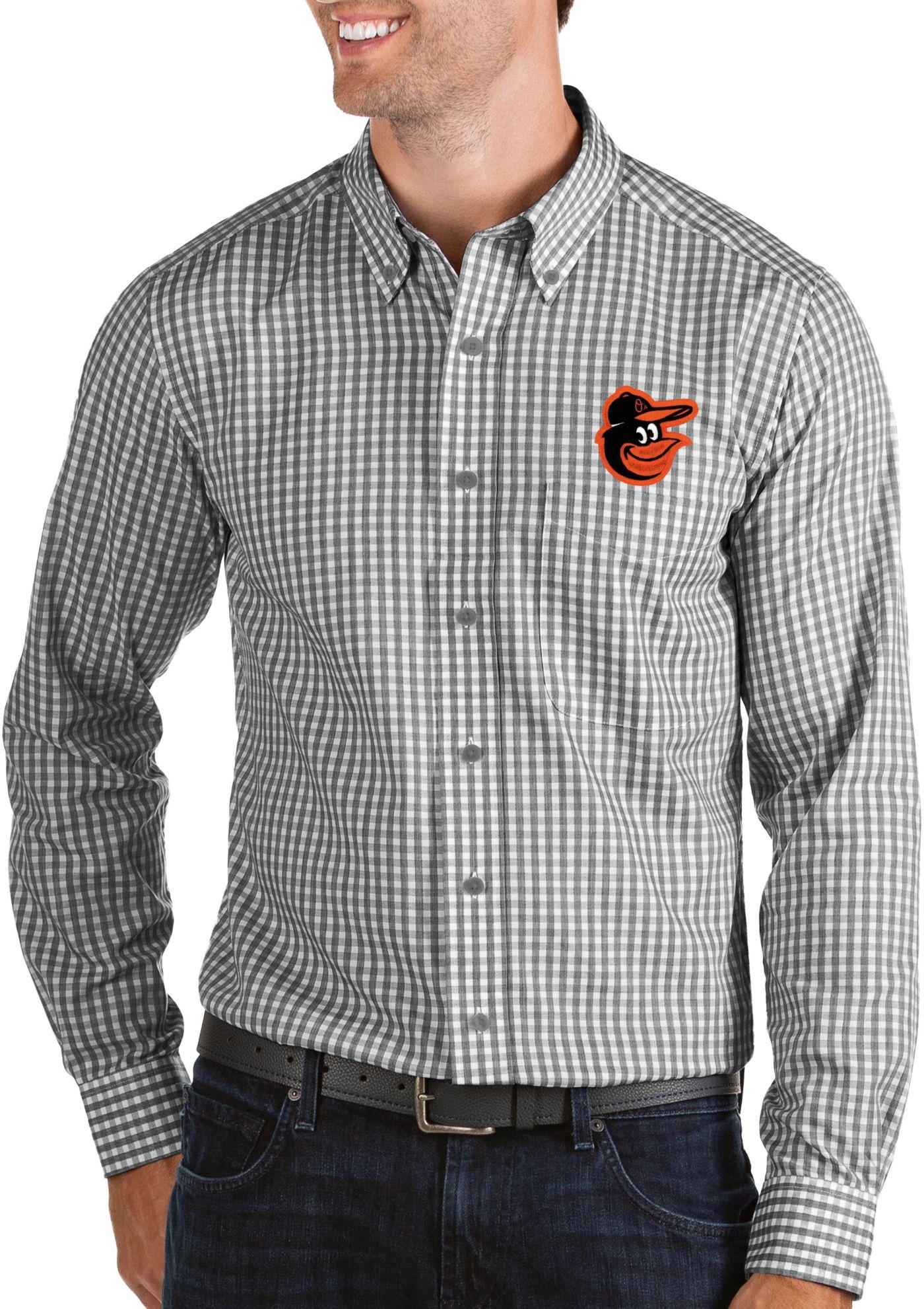 Antigua Men's Baltimore Orioles Structure Button-Up Black Long Sleeve Shirt