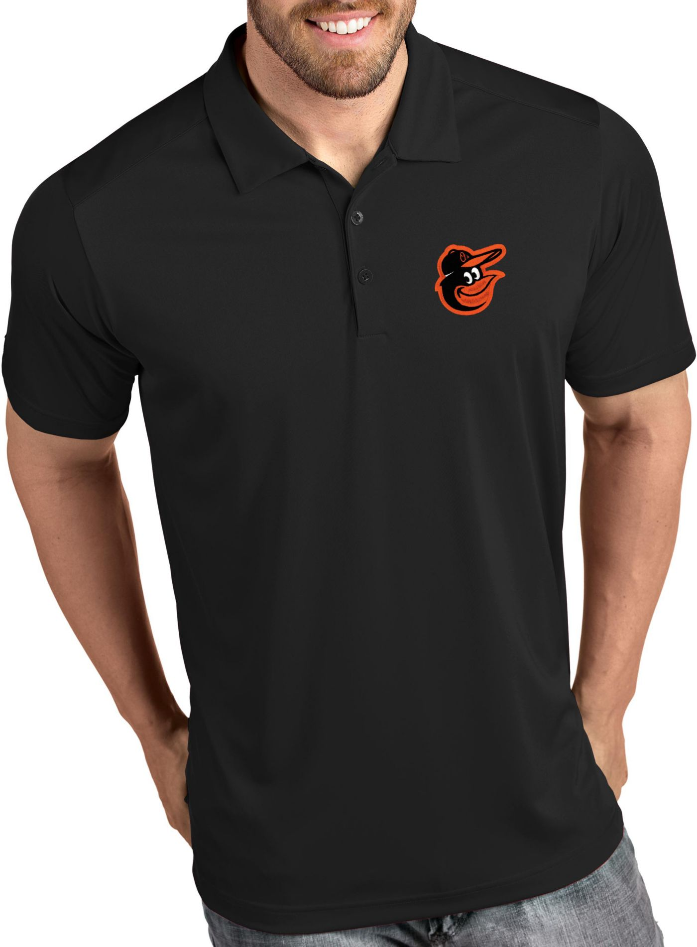 Antigua Men's Baltimore Orioles Tribute Black Performance  Polo