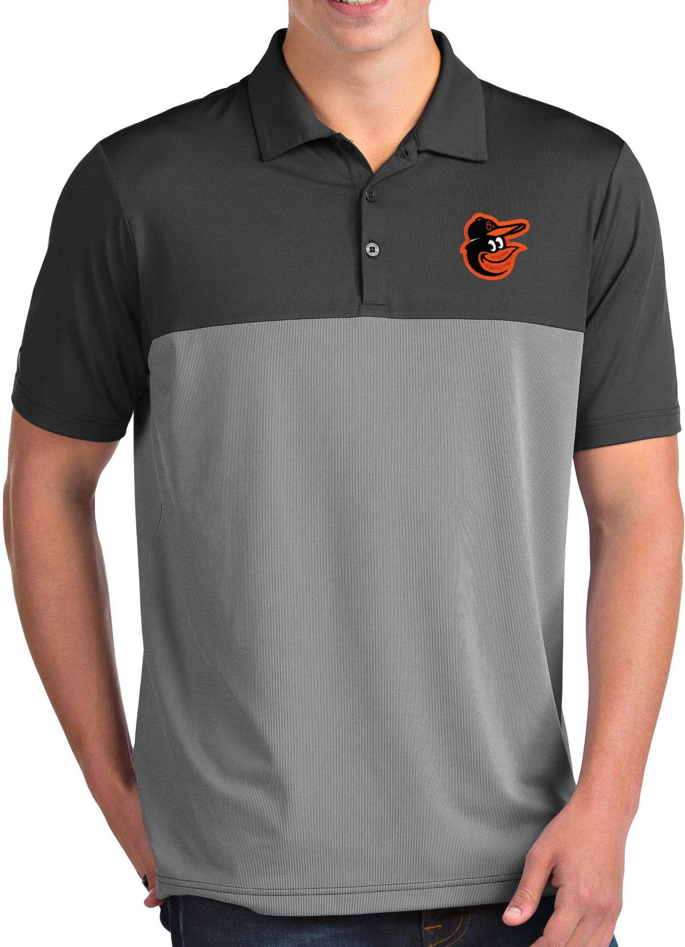 Antigua Men's Baltimore Orioles Venture Grey Performance Polo