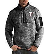 Antigua Men's Texas Rangers Fortune Black Half-Zip Pullover