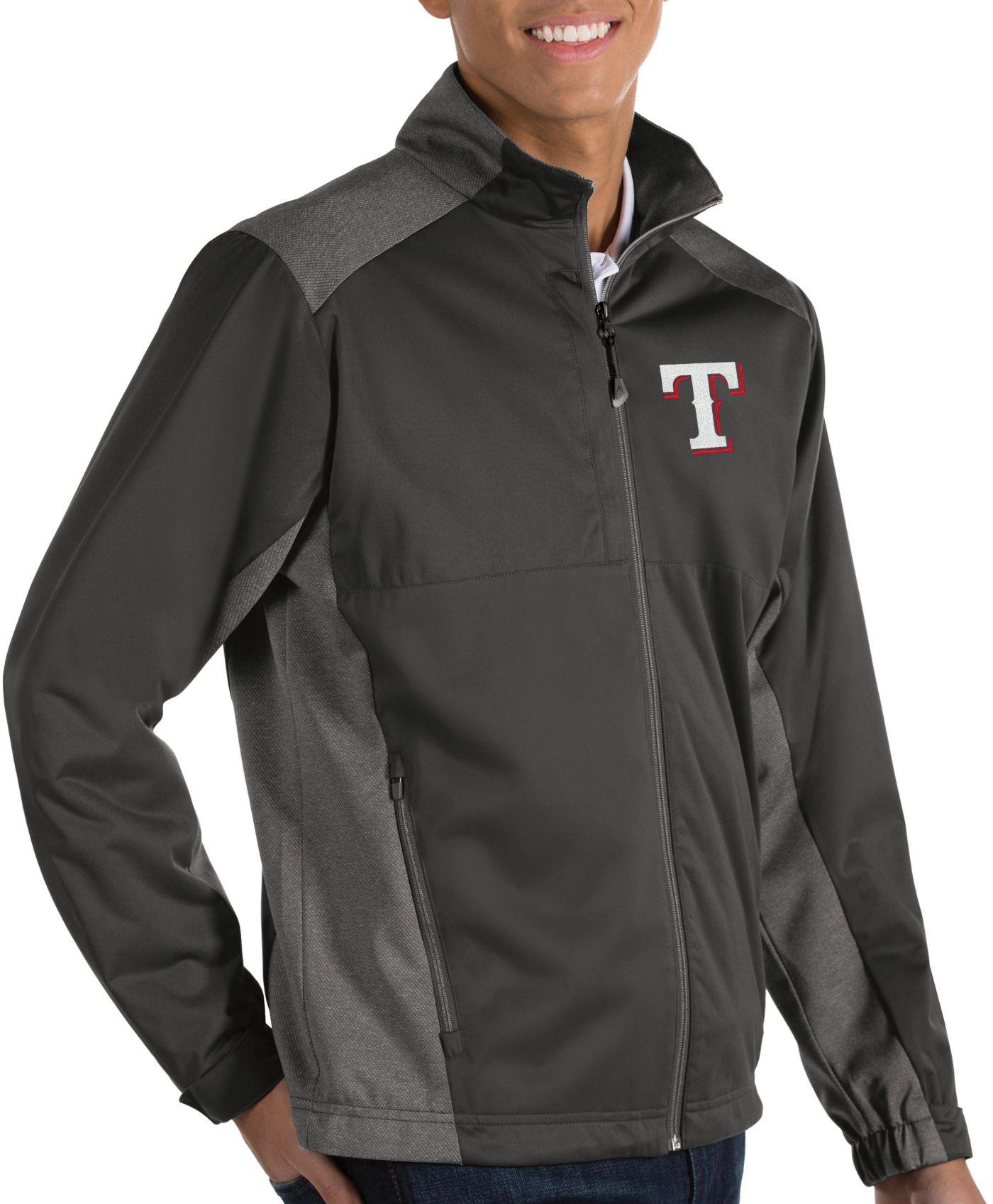 Antigua Men's Texas Rangers Revolve Grey Full-Zip Jacket