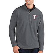 Antigua Men's Texas Rangers Grey Glacier Quarter-Zip Pullover