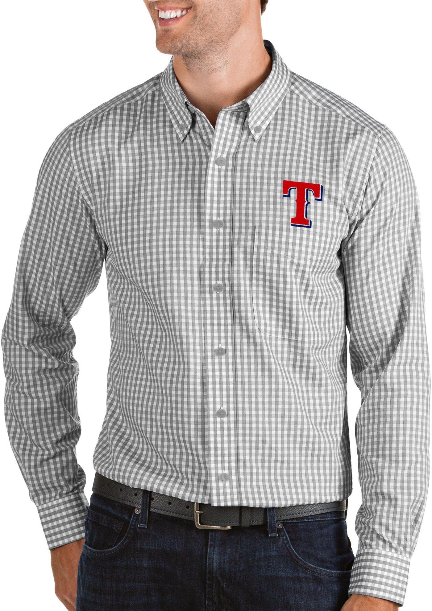 Antigua Men's Texas Rangers Structure Button-Up Grey Long Sleeve Shirt