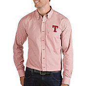 Antigua Men's Texas Rangers Structure Red Long Sleeve Button Down Shirt