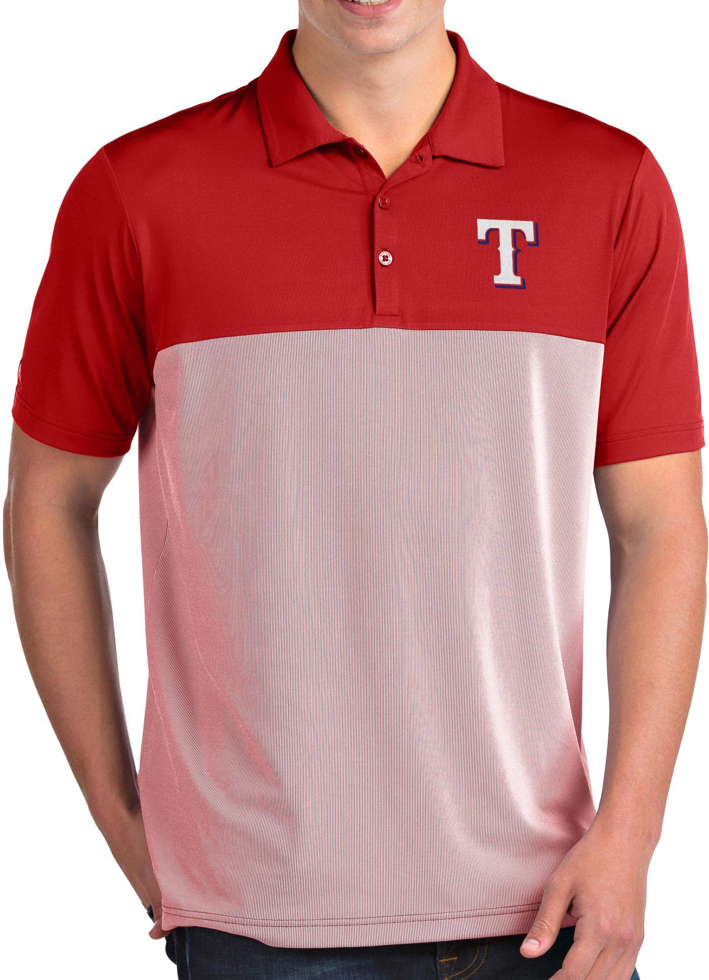 Antigua Men's Texas Rangers Venture Red Performance Polo