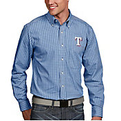 Antigua Men's Texas Rangers Associate Royal Long Sleeve Button Down Shirt
