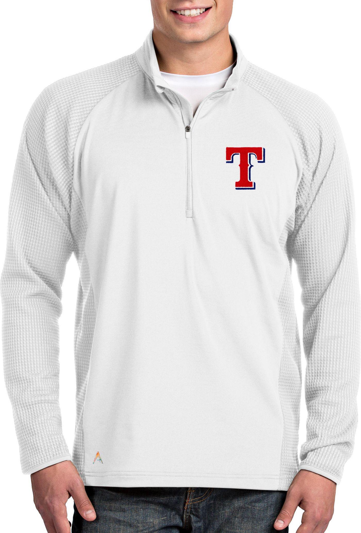 Antigua Men's Texas Rangers White Sonar Performance Quarter-Zip Pullover