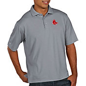 Antigua Men's Boston Red Sox Pique Grey Performance Polo