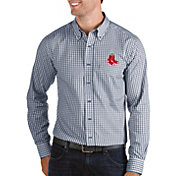 Antigua Men's Boston Red Sox Structure Button-Up Navy Long Sleeve Shirt