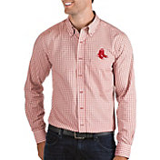 Antigua Men's Boston Red Sox Structure Button-Up Red Long Sleeve Shirt