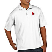 Antigua Men's Boston Red Sox Pique White Performance Polo