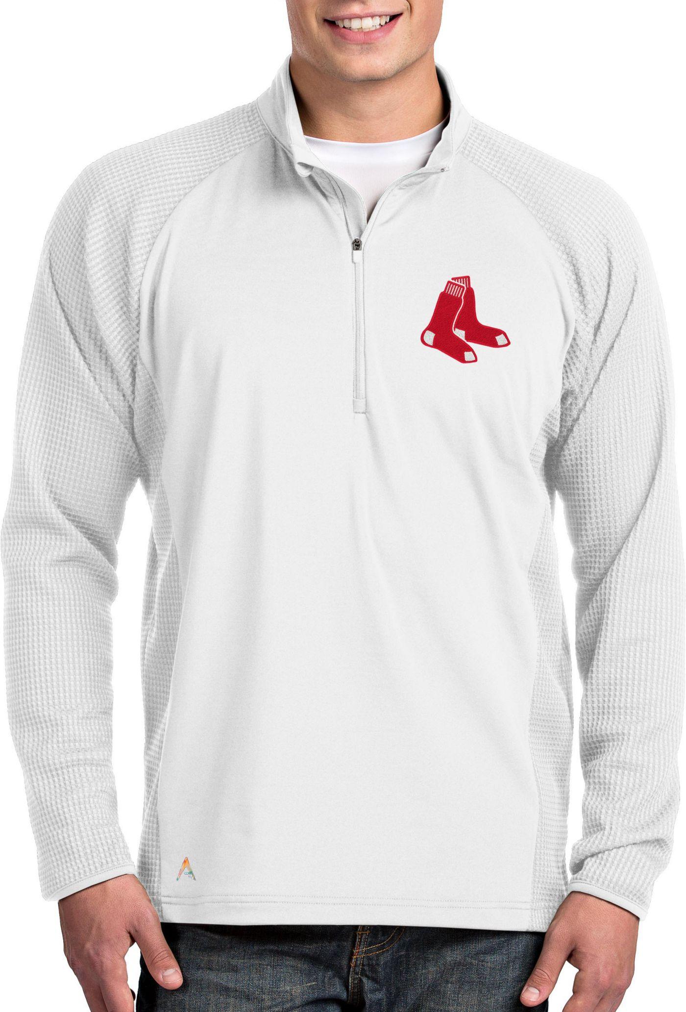 Antigua Men's Boston Red Sox White Sonar Performance Quarter-Zip Pullover