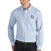 Antigua Men's Kansas City Royals Structure Button-Up Blue Long Sleeve Shirt