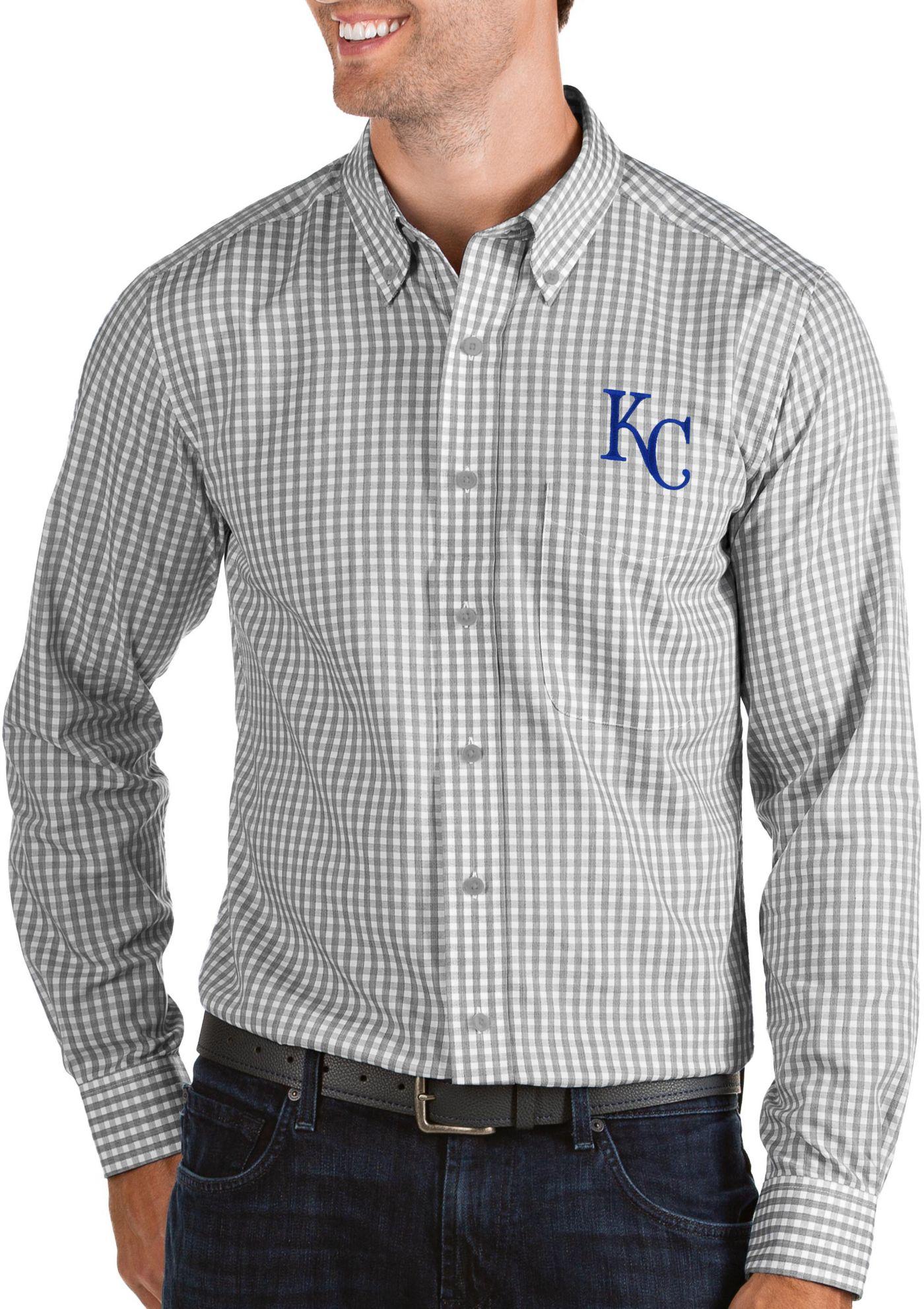 Antigua Men's Kansas City Royals Structure Button-Up Grey Long Sleeve Shirt