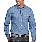 Antigua Men's Kansas City Royals Associate Button-Up Royal Long Sleeve Shirt
