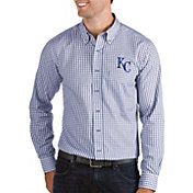 Antigua Men's Kansas City Royals Structure Button-Up Royal Long Sleeve Shirt