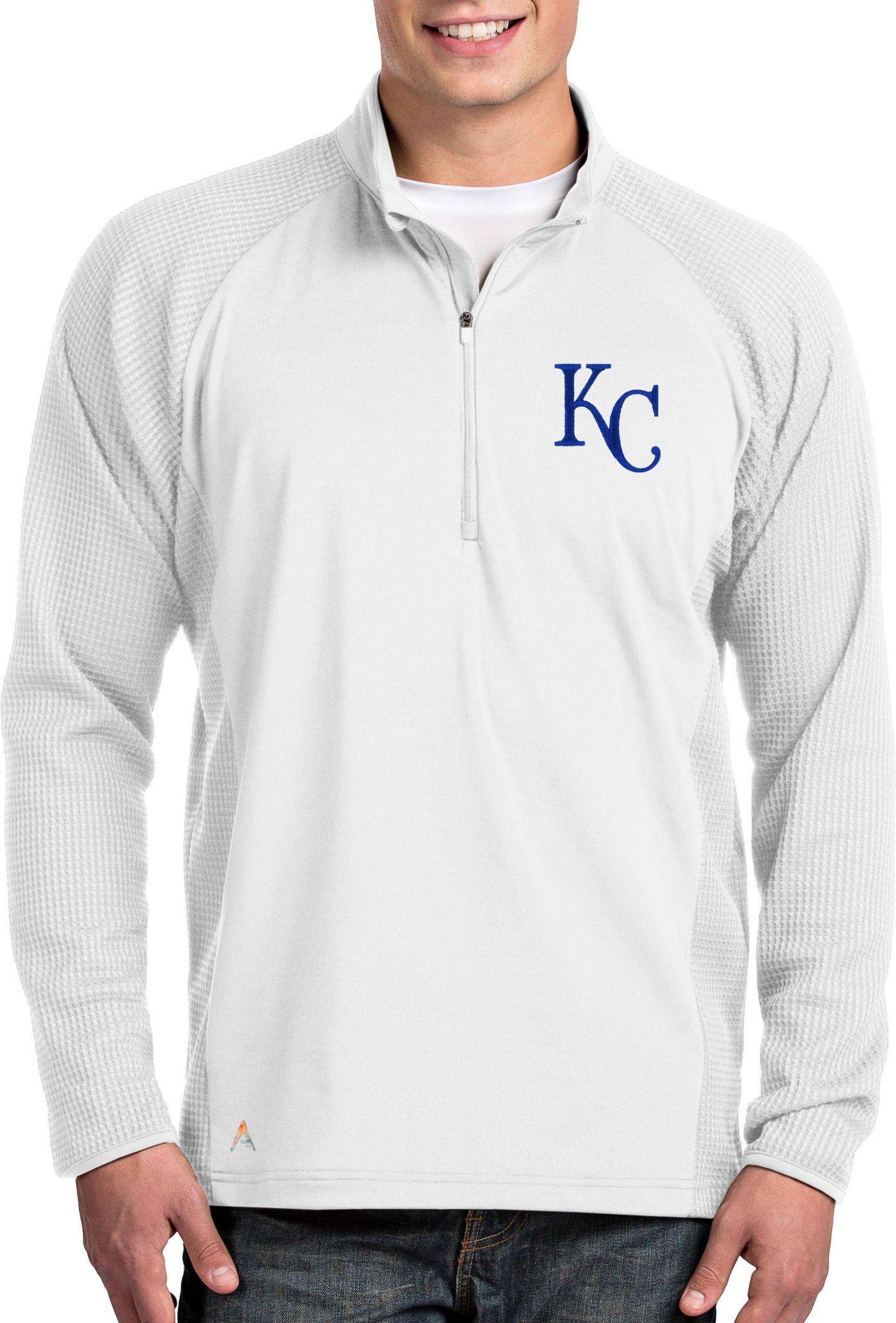 Antigua Men's Kansas City Royals White Sonar Performance Quarter-Zip Pullover