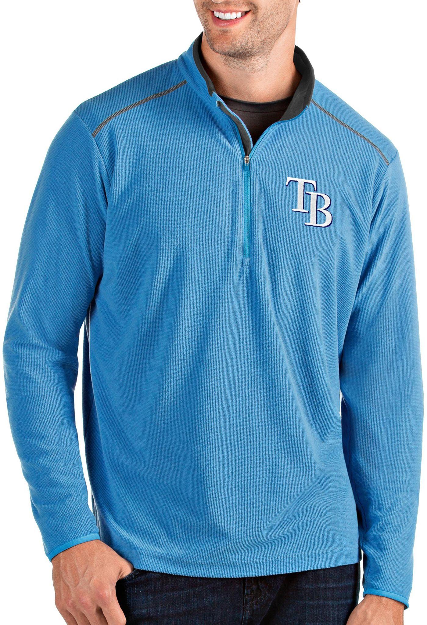 Antigua Men's Tampa Bay Rays Light Blue Glacier Quarter-Zip Pullover