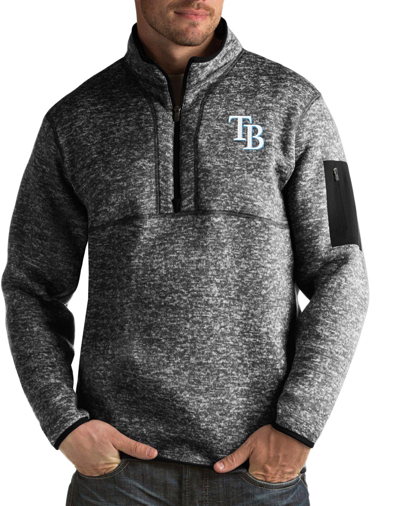 Antigua Men's Tampa Bay Rays Fortune Black Half-Zip Pullover